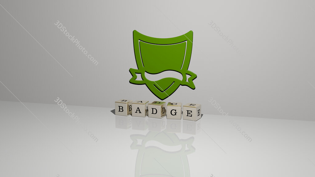 badge text of cubic dice letters on the floor and 3D icon on the wall
