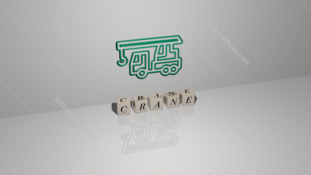 Crane text of cubic dice letters on the floor and 3D icon on the wall