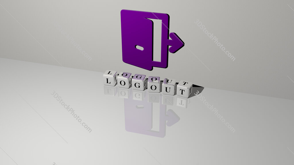 logout text of cubic dice letters on the floor and 3D icon on the wall