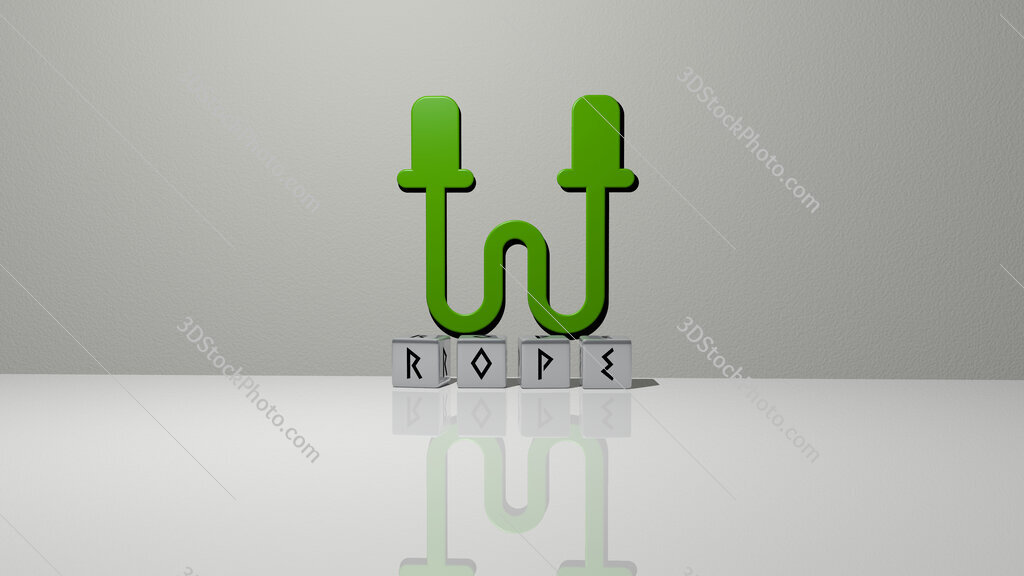 rope text of cubic dice letters on the floor and 3D icon on the wall