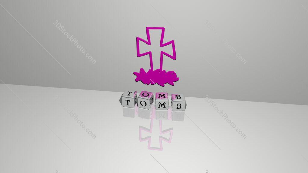 tomb text of cubic dice letters on the floor and 3D icon on the wall