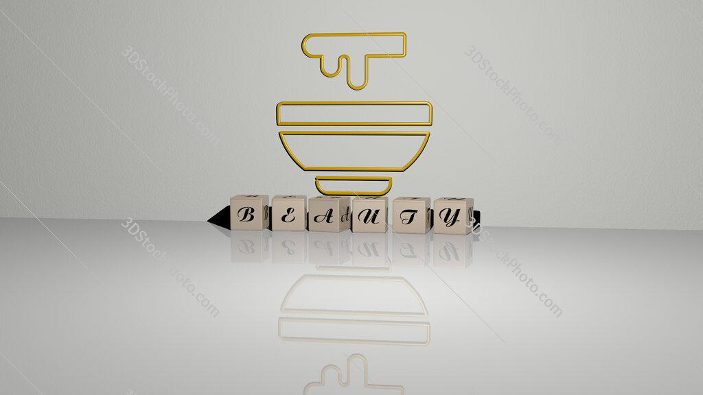 beauty text of cubic dice letters on the floor and 3D icon on the wall