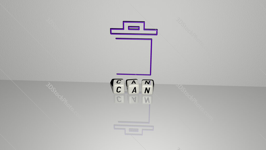can text of cubic dice letters on the floor and 3D icon on the wall