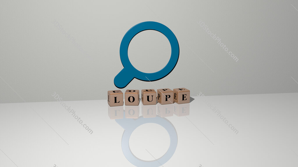 loupe text of cubic dice letters on the floor and 3D icon on the wall