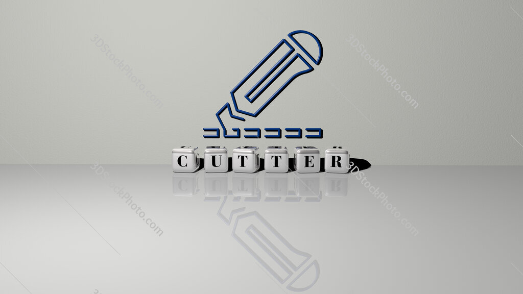 cutter text of cubic dice letters on the floor and 3D icon on the wall