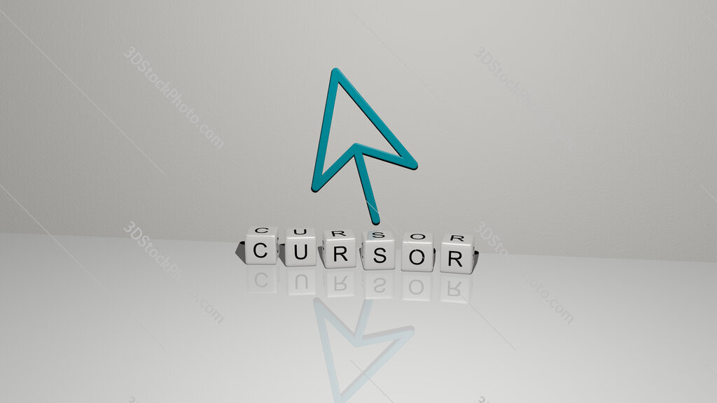 cursor text of cubic dice letters on the floor and 3D icon on the wall