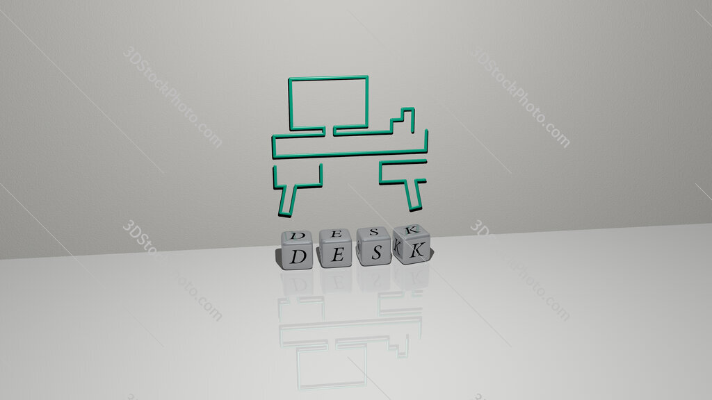 desk text of cubic dice letters on the floor and 3D icon on the wall