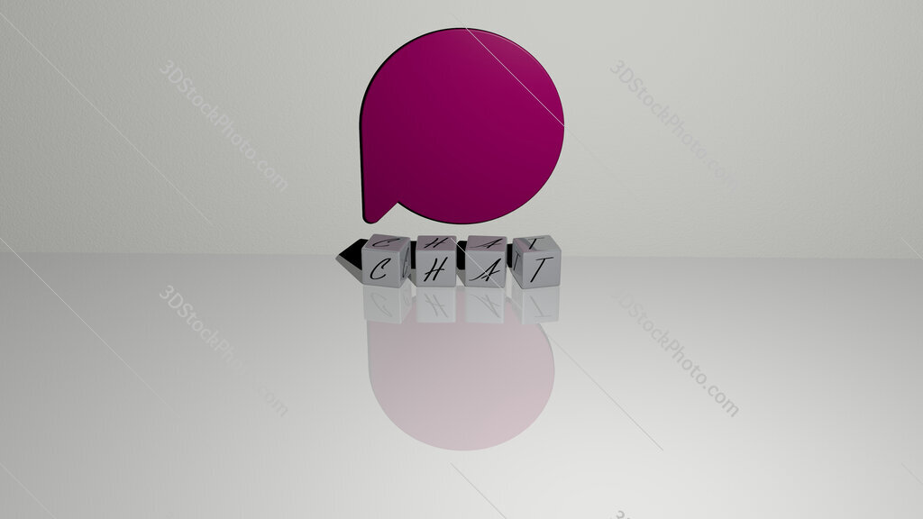 chat text of cubic dice letters on the floor and 3D icon on the wall