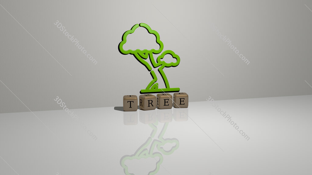 tree text of cubic dice letters on the floor and 3D icon on the wall