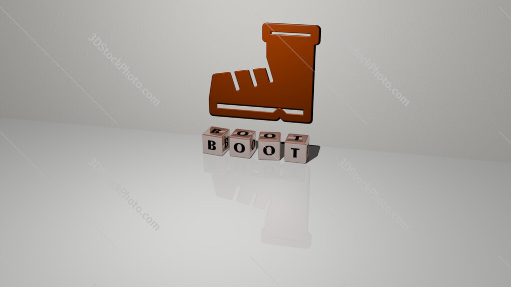boot text of cubic dice letters on the floor and 3D icon on the wall