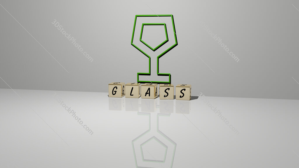 glass text of cubic dice letters on the floor and 3D icon on the wall