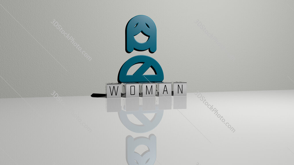 woman text of cubic dice letters on the floor and 3D icon on the wall
