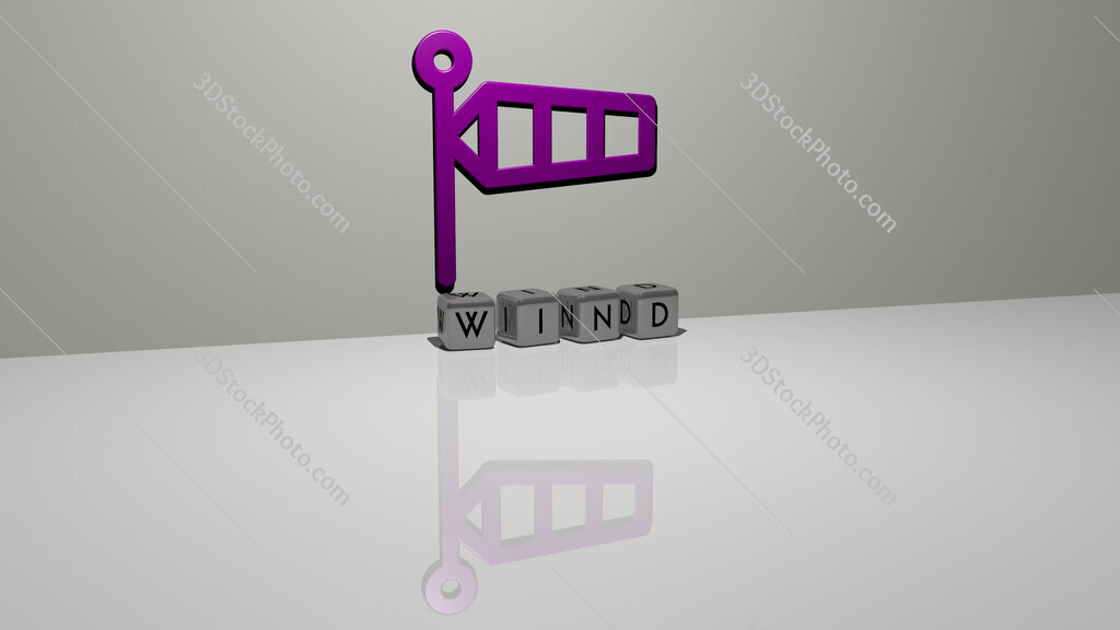 wind text of cubic dice letters on the floor and 3D icon on the wall