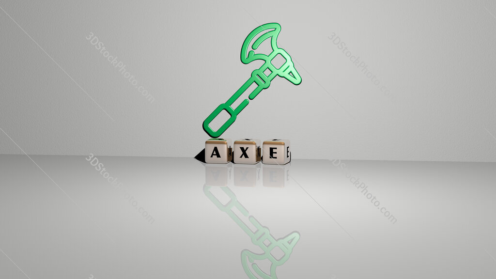 Axe text of cubic dice letters on the floor and 3D icon on the wall