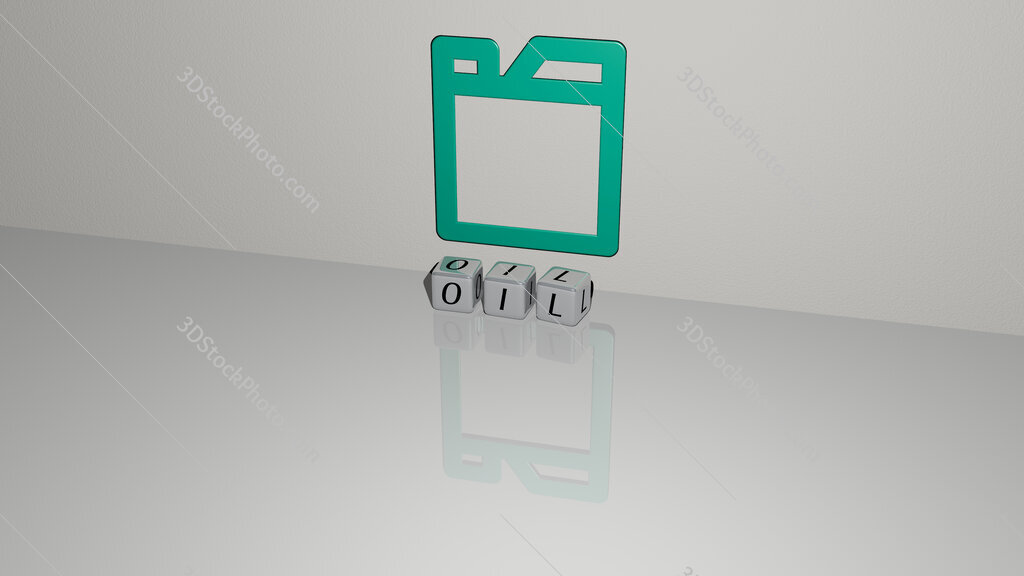 oil text of cubic dice letters on the floor and 3D icon on the wall