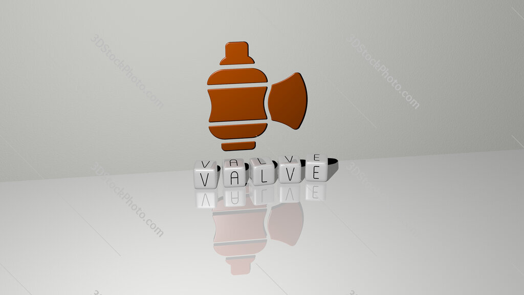 valve text of cubic dice letters on the floor and 3D icon on the wall