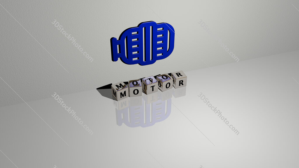 motor text of cubic dice letters on the floor and 3D icon on the wall