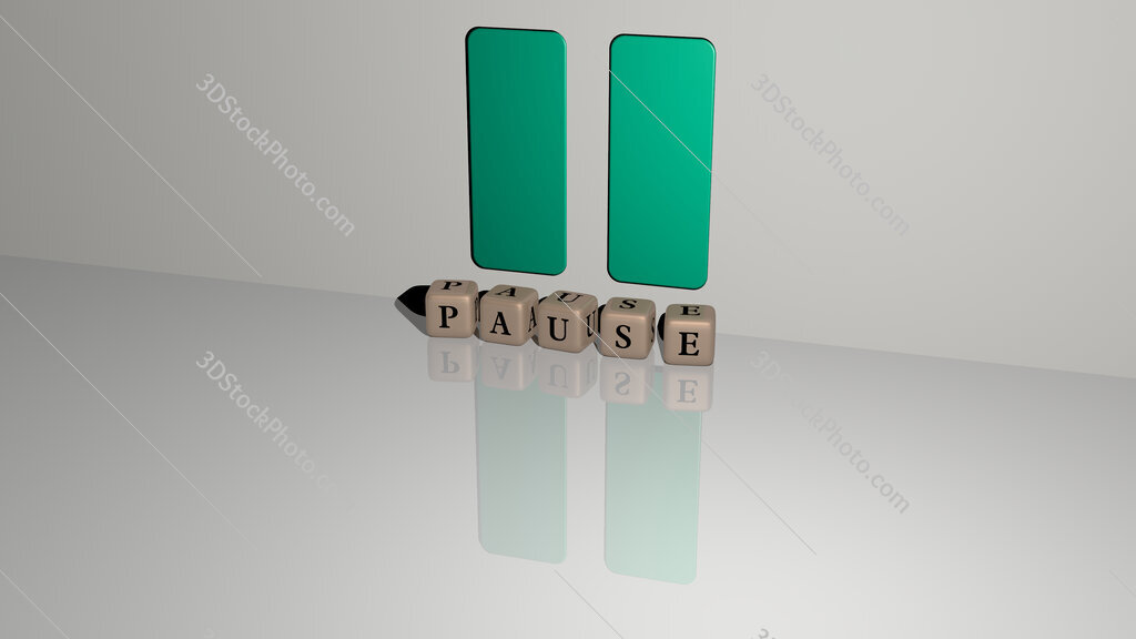 pause text of cubic dice letters on the floor and 3D icon on the wall