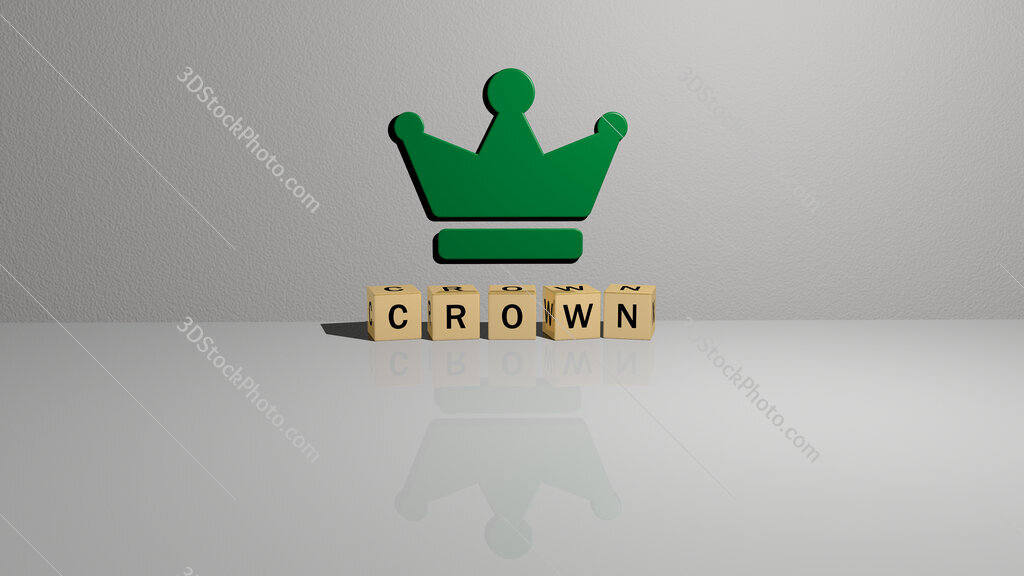 crown text of cubic dice letters on the floor and 3D icon on the wall