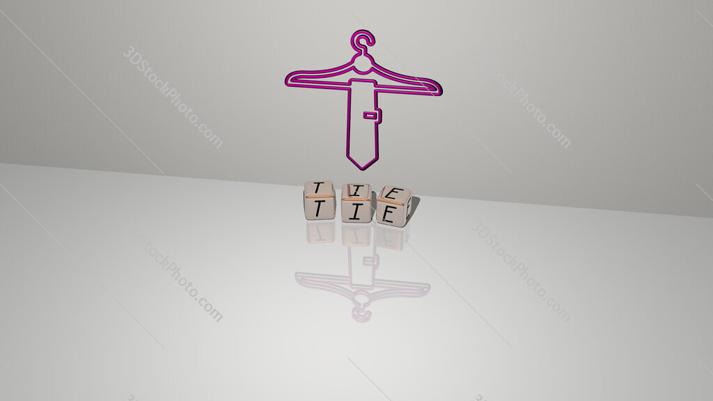 tie text of cubic dice letters on the floor and 3D icon on the wall
