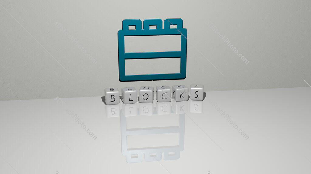 blocks text of cubic dice letters on the floor and 3D icon on the wall