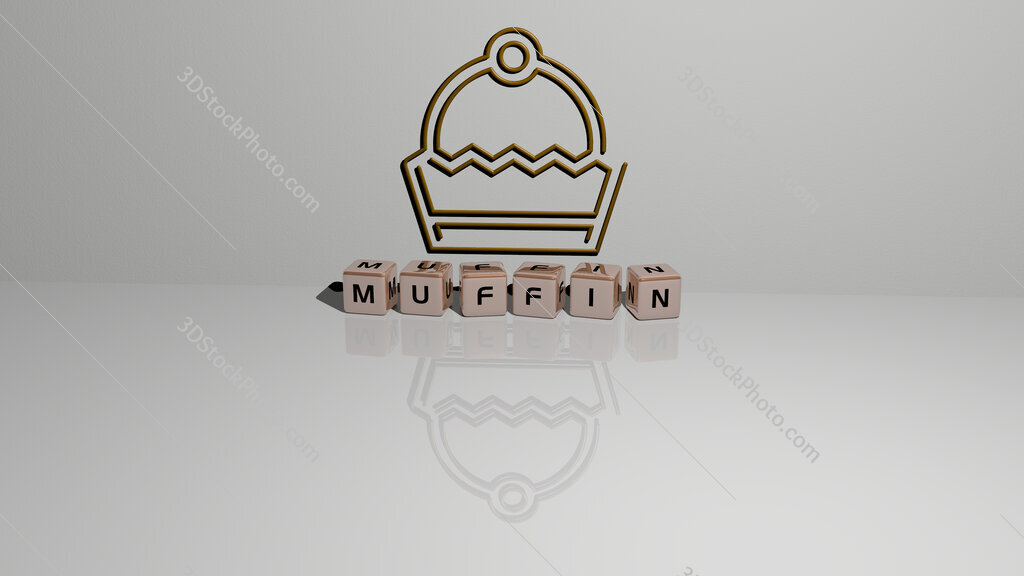 muffin text of cubic dice letters on the floor and 3D icon on the wall