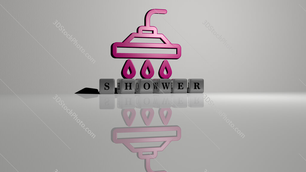 shower text of cubic dice letters on the floor and 3D icon on the wall