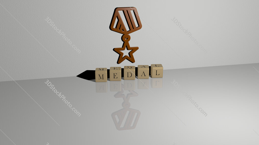medal text of cubic dice letters on the floor and 3D icon on the wall