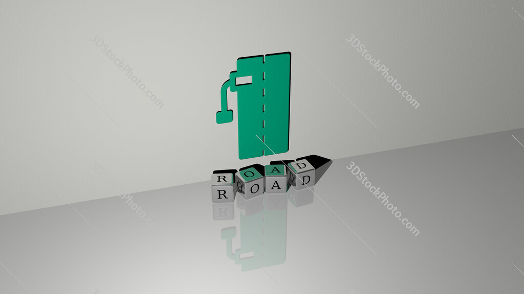road text of cubic dice letters on the floor and 3D icon on the wall