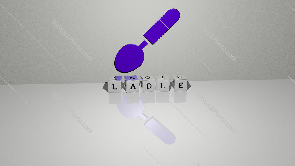 ladle text of cubic dice letters on the floor and 3D icon on the wall