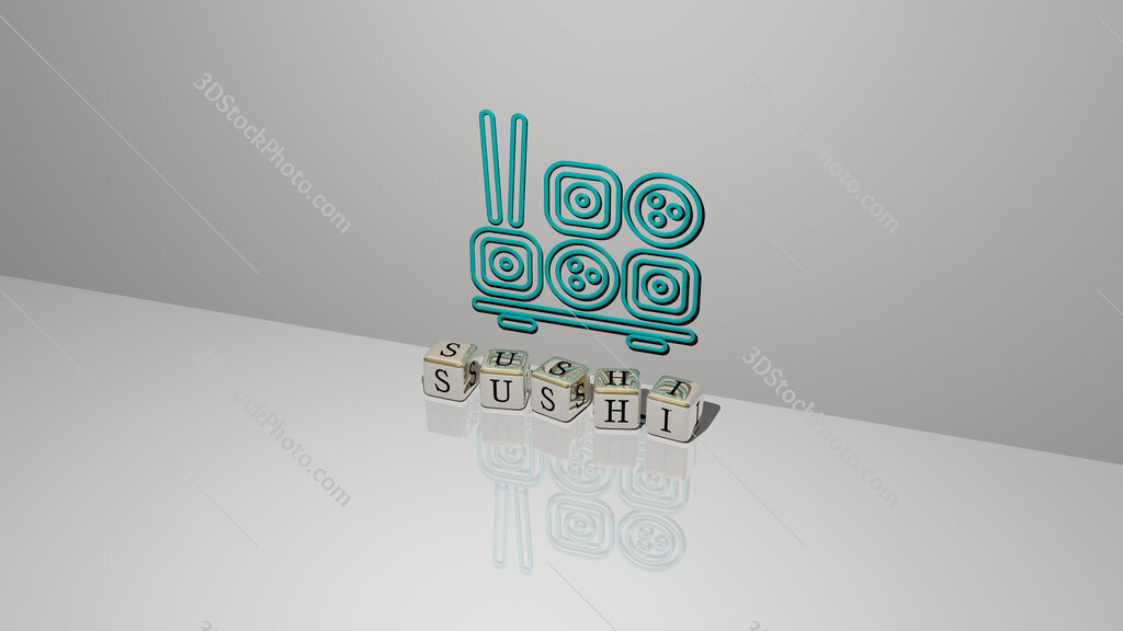 sushi text of cubic dice letters on the floor and 3D icon on the wall