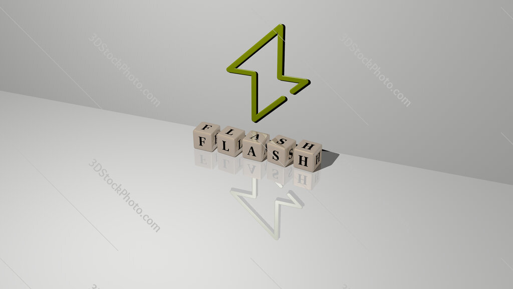 flash text of cubic dice letters on the floor and 3D icon on the wall