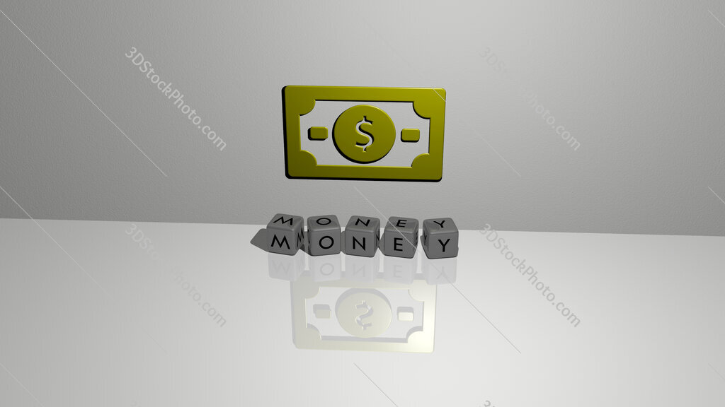 money text of cubic dice letters on the floor and 3D icon on the wall