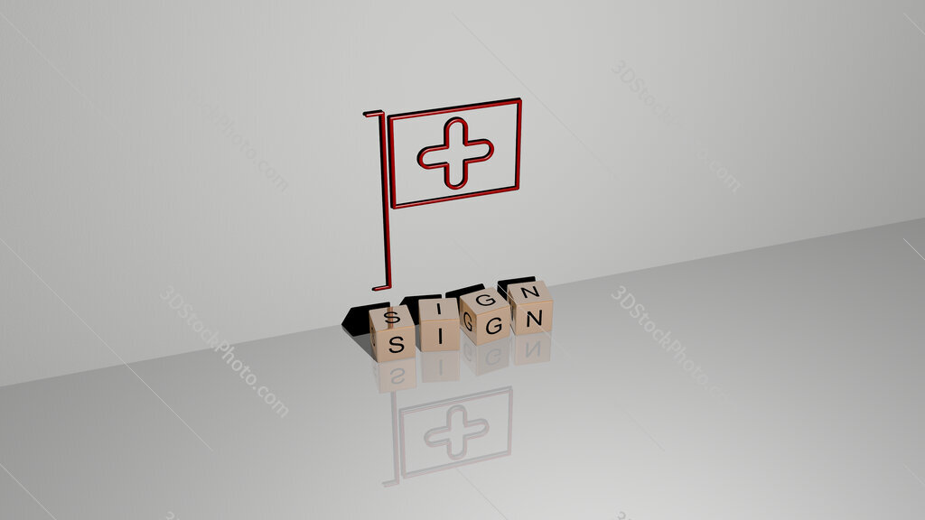 sign text of cubic dice letters on the floor and 3D icon on the wall