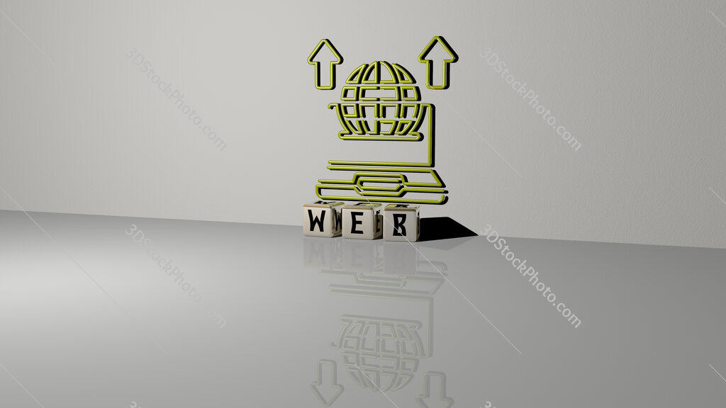 web text of cubic dice letters on the floor and 3D icon on the wall