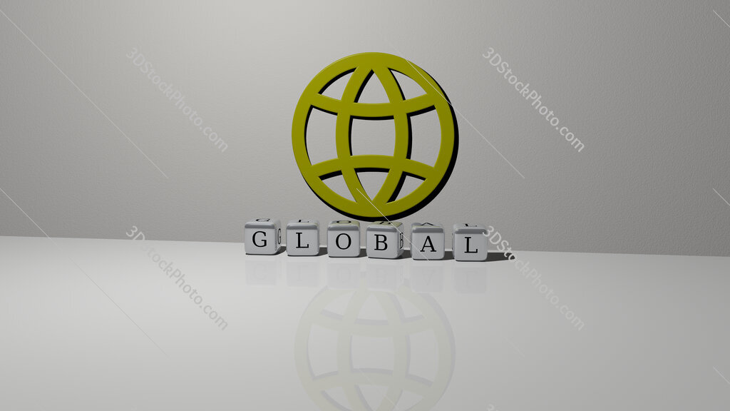 global text of cubic dice letters on the floor and 3D icon on the wall