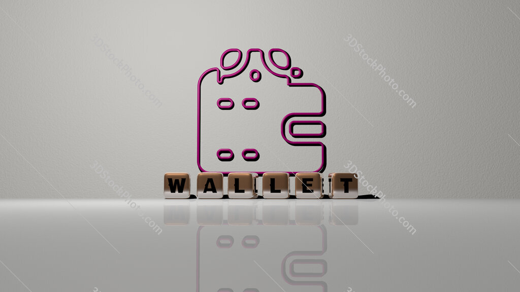 wallet text of cubic dice letters on the floor and 3D icon on the wall