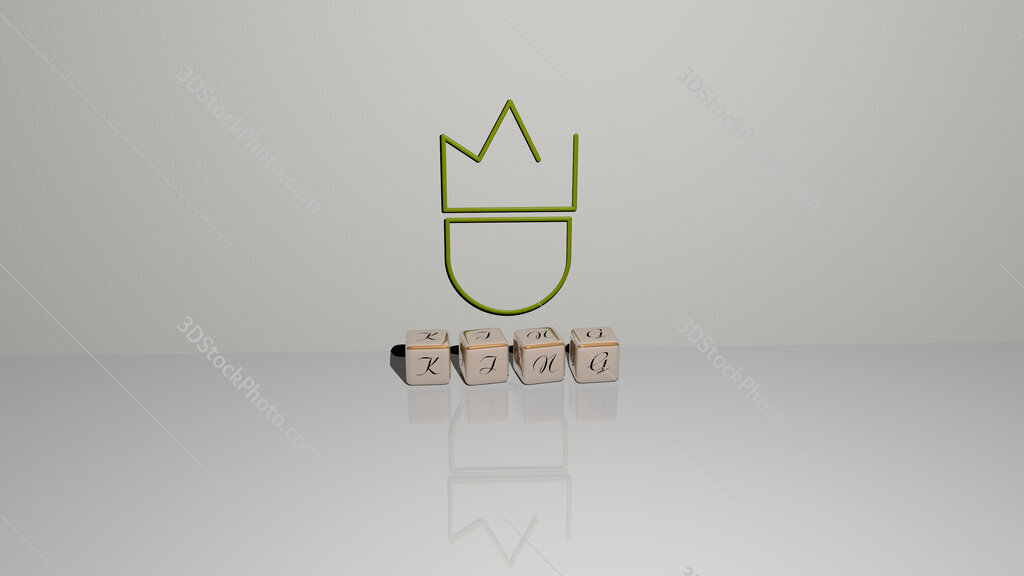 king text of cubic dice letters on the floor and 3D icon on the wall