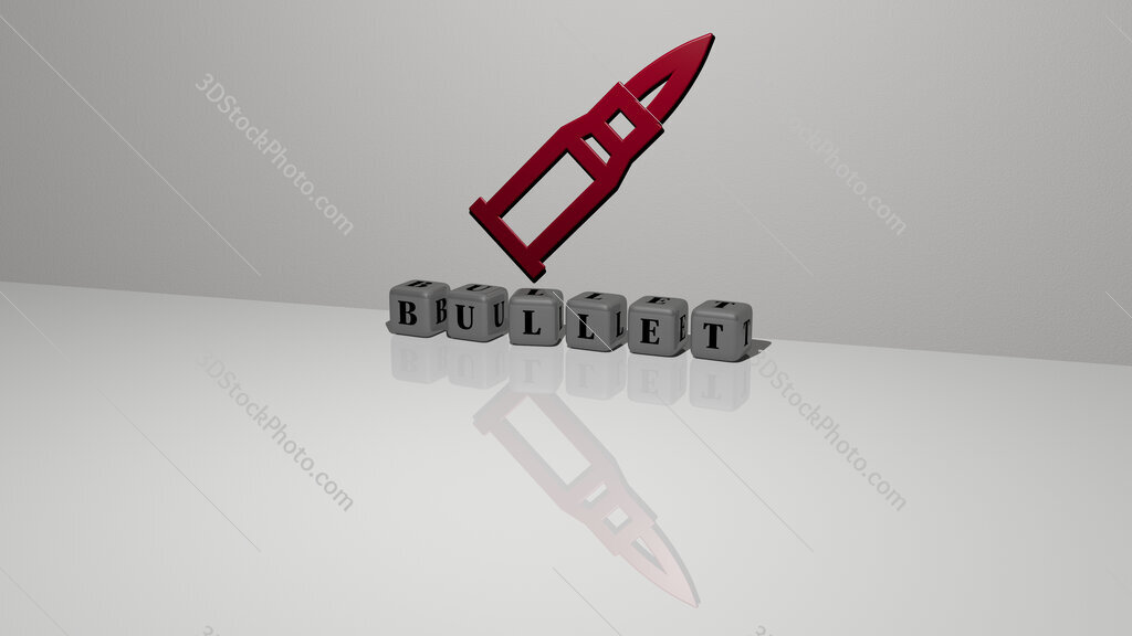 bullet text of cubic dice letters on the floor and 3D icon on the wall