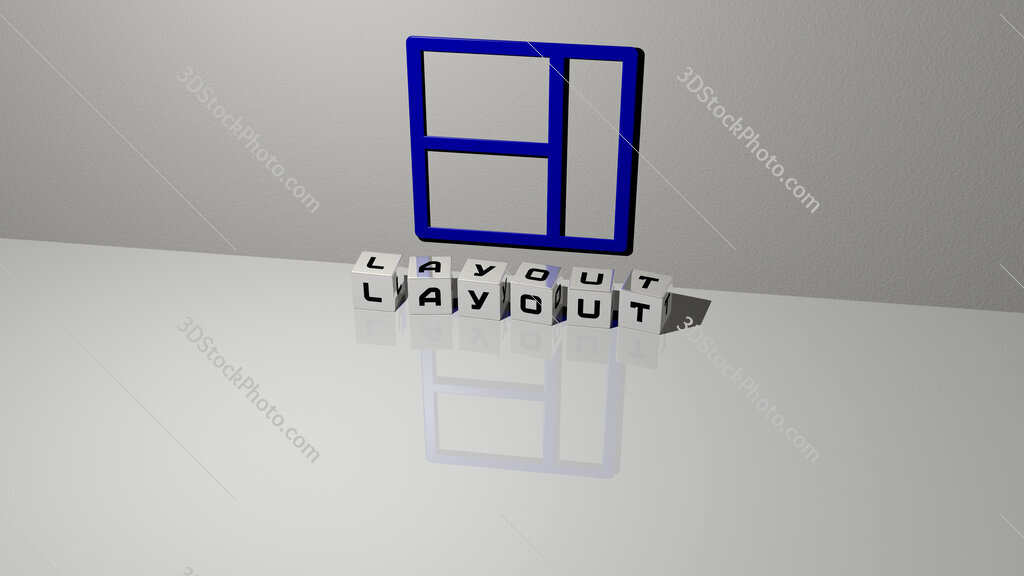 layout text of cubic dice letters on the floor and 3D icon on the wall