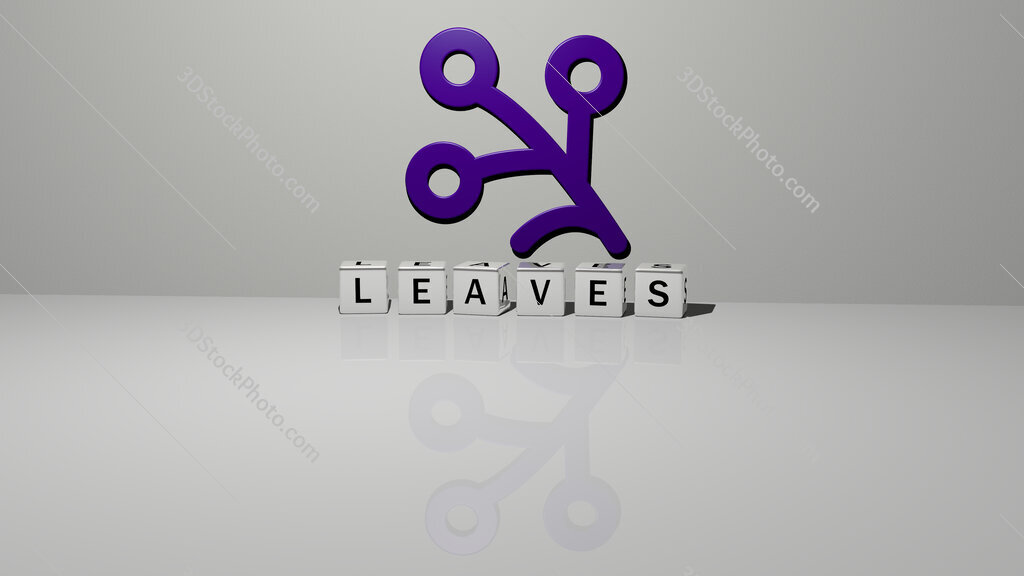 leaves text of cubic dice letters on the floor and 3D icon on the wall