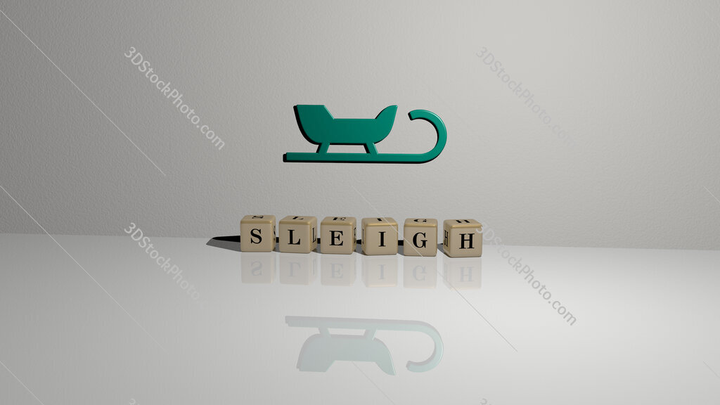 sleigh text of cubic dice letters on the floor and 3D icon on the wall