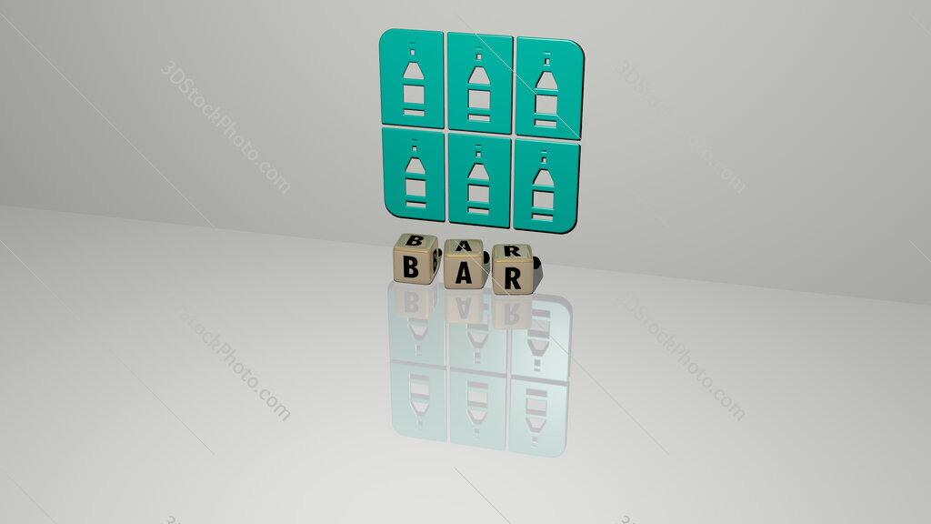 bar text of cubic dice letters on the floor and 3D icon on the wall