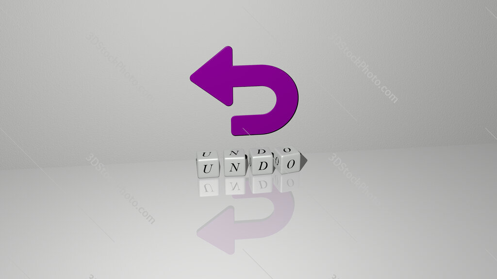 undo text of cubic dice letters on the floor and 3D icon on the wall