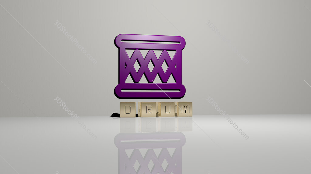 drum text of cubic dice letters on the floor and 3D icon on the wall