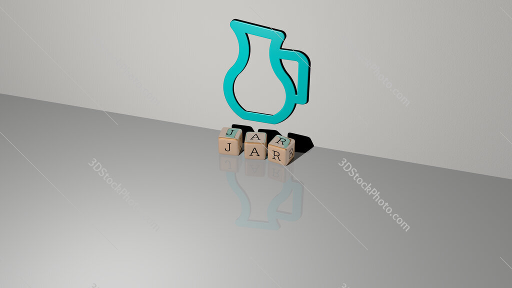 jar text of cubic dice letters on the floor and 3D icon on the wall