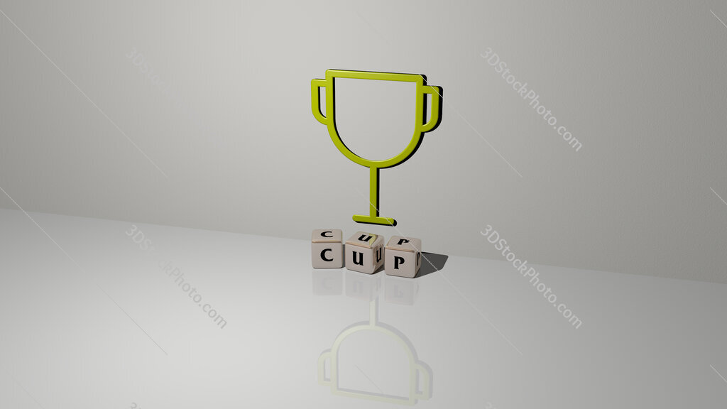 cup text of cubic dice letters on the floor and 3D icon on the wall