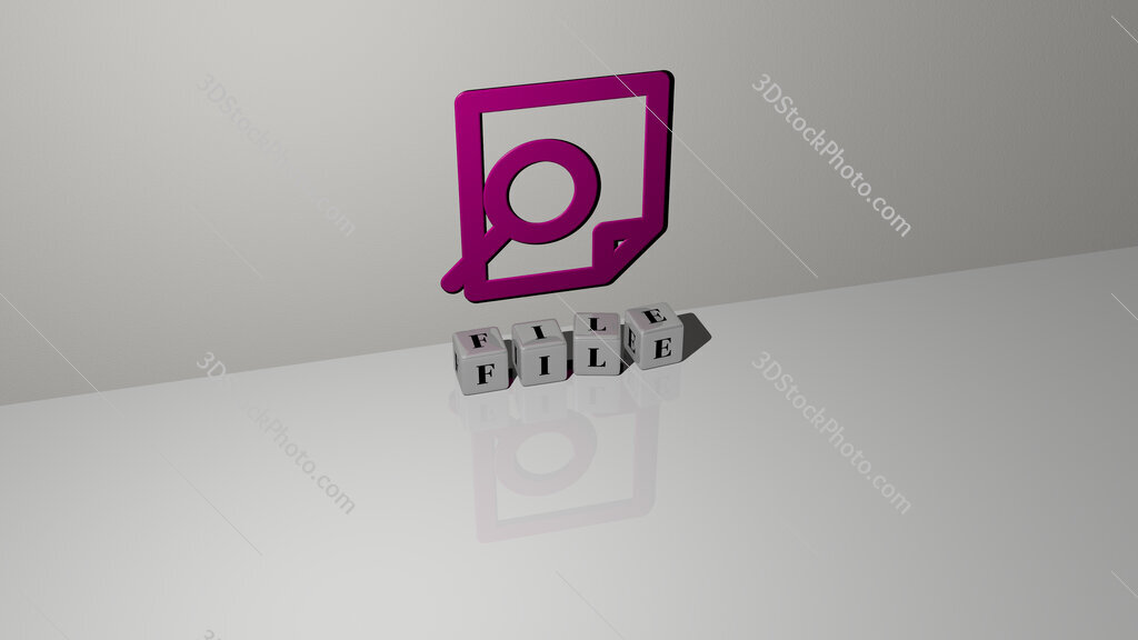 file text of cubic dice letters on the floor and 3D icon on the wall