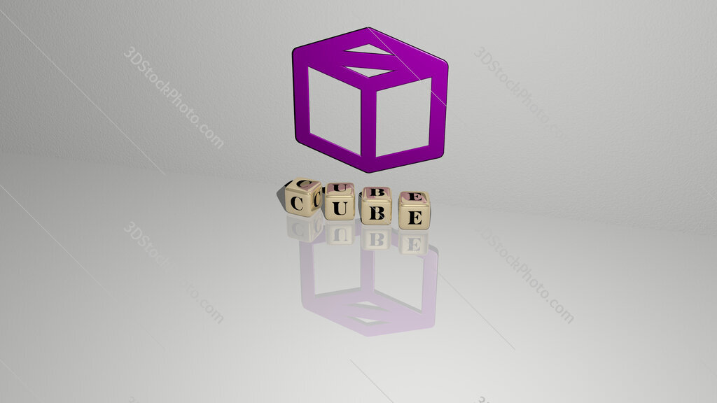 cube text of cubic dice letters on the floor and 3D icon on the wall