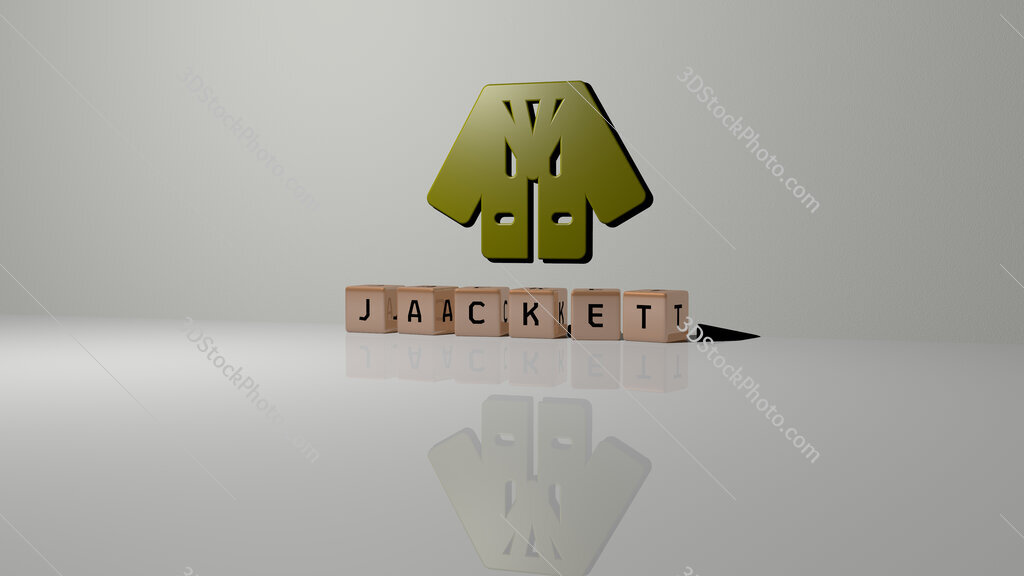jacket text of cubic dice letters on the floor and 3D icon on the wall